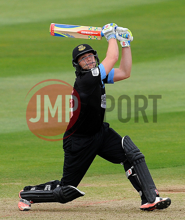 Sussex's Luke Wright hits the ball off the bowling of Photo mandatory by-line: Harry Trump/JMP - Mobile: 07966 386802 - 22/05/15 - SPORT - CRICKET - Natwest T20 Blast - Somerset v Sussex Sharks - The County Ground, Taunton, England.