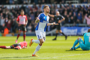 Bristol Rovers Matt Taylor celebrates scoring his teams 3rd goal, 3-1, during the Sky Bet League 2 match between Bristol Rovers and Exeter City at the Memorial Stadium, Bristol, England on 23 April 2016. Photo by Shane Healey.