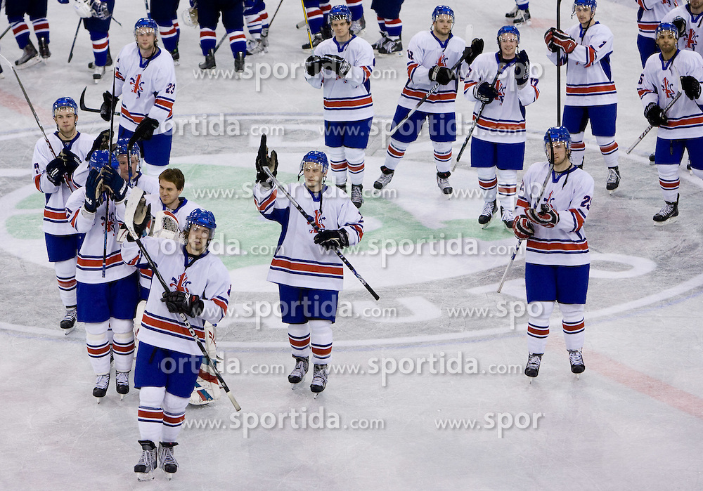 Players of Great Britain celebrate after winning the IIHF Ice-hockey World Championships Division I Group B match between National teams of Great Britain and Korea, on April 18, 2010, in Tivoli hall, Ljubljana, Slovenia. Great Britain defeated Korea 2-1. (Photo by Vid Ponikvar / Sportida)