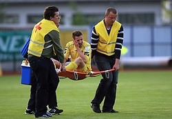 Joze Benko injured at 32th Round of Slovenian First League football match between NK Domzale and NK Hit Gorica in Sports park Domzale, on May 6, 2009, in Domzale, Slovenia. Gorica won 2:0. (Photo by Vid Ponikvar / Sportida)