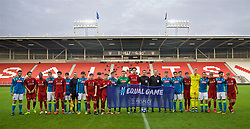 ST HELENS, ENGLAND - Monday, December 10, 2018: Liverpool and Napoli players pose for a UEFA equal game photograph before the UEFA Youth League Group C match between Liverpool FC and SSC Napoli at Langtree Park. (Pic by David Rawcliffe/Propaganda)