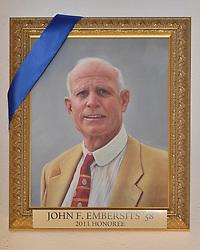 Blue Leadership Ball 2011, Yale University Athletics. Award Honoree John F. Embersits '58 Portrait hanging in the Kiphuth Trophy Room, Payne Whitney Gymnasium.