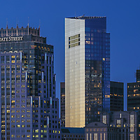 Boston skyline photography showing the Boston State Street Corporation and the newly constructed Millennium Tower on a magnificent night at twilight. This Boston skyline photo at the blue hour is available as museum quality photography prints, canvas prints, acrylic prints or metal prints. Fine art prints may be framed and matted to the individual liking and decorating needs:<br />  <br /> http://juergen-roth.pixels.com/featured/boston-state-street-and-millennium-tower-juergen-roth.html<br /> <br /> All photographs are available for digital and print image licensing at www.RothGalleries.com. Please contact me direct with any questions or request.<br /> <br /> Good light and happy photo making!<br /> <br /> My best,<br /> <br /> Juergen<br /> Prints: http://www.rothgalleries.com<br /> Photo Blog: http://whereintheworldisjuergen.blogspot.com<br /> Twitter: @NatureFineArt<br /> Instagram: https://www.instagram.com/rothgalleries<br /> Facebook: https://www.facebook.com/naturefineart