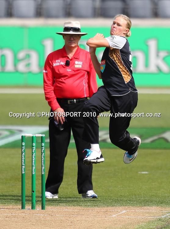 Whiteferns bowler Kate Pulford. Women's International Twenty20 cricket match - New Zealand White Ferns v Australia Southern Stars at AMI Stadium, Christchurch. Sunday 28 February 2010.