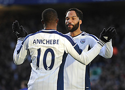 West Bromwich Albion's Victor Anichebe celebrates his goal with West Bromwich Albion's Joleon Lescott - Photo mandatory by-line: Dougie Allward/JMP - Mobile: 07966 386802 - 24/01/2015 - SPORT - Football - Birmingham - ST Andrew's Stadium - Birmingham City v West Bromwich Albion - FA Cup Forth Round