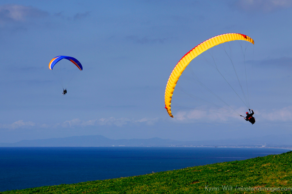 USA, California, San Diego. Pair of Paragliders at Torrey Pines.