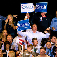 TAMPA, FL -- Supporters cheer for Republican presidential candidate former Gov. Mitt Romney during his Election Night party on decision day during his victory in the Florida Primary on Tuesday, January 31, 2012. (Chip Litherland for The New York Times)