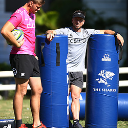 DURBAN, SOUTH AFRICA - MAY 07: Stephan Lewies of the Cell C Sharks with Johan Pretorius Head Strength & Conditioning Coach of the Cell C Sharks during the Cell C Sharks training session at Jonsson Kings Park on May 07, 2018 in Durban, South Africa. (Photo by Steve Haag/Gallo Images)