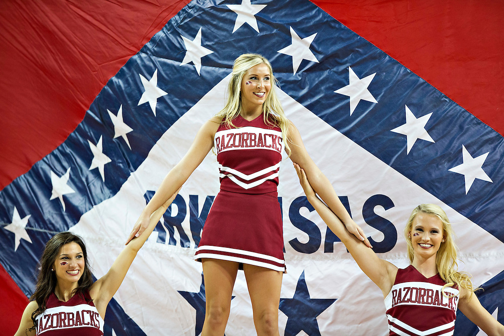 FAYETTEVILLE, AR - NOVEMBER 13:  Cheerleaders of the Arkansas Razorbacks perform during a game against the Southern University Jaguars at Bud Walton Arena on November 13, 2015 in Fayetteville, Arkansas.  The Razorbacks defeated the Jaguars 86-68.  (Photo by Wesley Hitt/Getty Images) *** Local Caption ***
