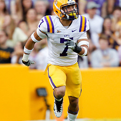 November 25, 2011; Baton Rouge, LA, USA; LSU Tigers cornerback Tyrann Mathieu (7) on kickoff coverage against the Arkansas Razorbacks during the second half of a game at Tiger Stadium. LSU defeated Arkansas 41-17. Mandatory Credit: Derick E. Hingle-US PRESSWIRE