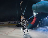 KELOWNA, CANADA - SEPTEMBER 25: Braydyn Chizen #22 of Kelowna Rockets enters the ice during the season home opener against the Kamloops Blazers on September 25, 2015 at Prospera Place in Kelowna, British Columbia, Canada.  (Photo by Marissa Baecker/Shoot the Breeze)  *** Local Caption *** Braydyn Chizen;
