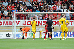 Tyler Lyttle of Bristol Rovers appeals to the referee after giving the penalty away - Mandatory byline: Neil Brookman/JMP - 07966386802 - 29/08/2015 - FOOTBALL - Matchroom Stadium -Leyton,England - Leyton Orient v Bristol Rovers - Sky Bet League Two