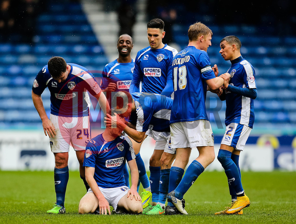 Oldham Athletic's Carl Winchester celebrates after scoring the equaliser for 1-1- Photo mandatory by-line: Matt McNulty/JMP - Mobile: 07966 386802 - 03/04/2015 - SPORT - Football - Oldham - Boundary Park - Oldham Athletic v Bristol City - Sky Bet League One