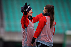 ZENICA, BOSNIA AND HERZEGOVINA - Sunday, November 26, 2017: Wales' Jessica Fishlock and Natasha Harding during a training session ahead of the FIFA Women's World Cup 2019 Qualifying Round Group 1 match against Bosnia and Herzegovina at the FF BH Football Training Centre. (Pic by David Rawcliffe/Propaganda)