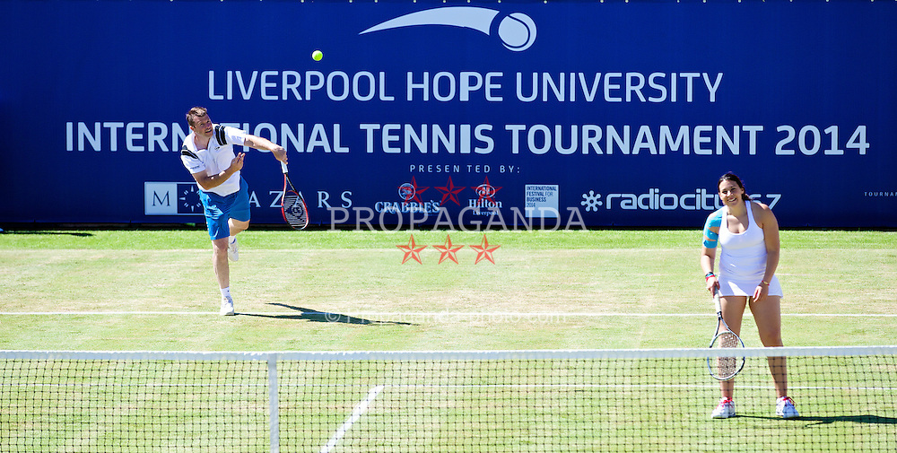 LIVERPOOL, ENGLAND - Friday, June 20, 2014: Barry Cowan and Marion Bartoli (FRA) during Day Two of the Liverpool Hope University International Tennis Tournament at Liverpool Cricket Club. (Pic by David Rawcliffe/Propaganda)