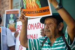 August 24, 2019, San Salvador, El Salvador: A group of Salvadorans protested outside of the Embassy of Brazil asking for the Government of Jair Bolsonaro to take messures against the Amazon Rainforest Wildfires. (Credit Image: © Camilo FreedmanZUMA Wire)