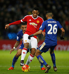 Anthony Martial of Manchester United (C) in action  - Mandatory byline: Jack Phillips/JMP - 07966386802 - 28/11/2015 - SPORT - FOOTBALL - Leicester - King Power Stadium - Leicester City v Manchester United - Barclays Premier League