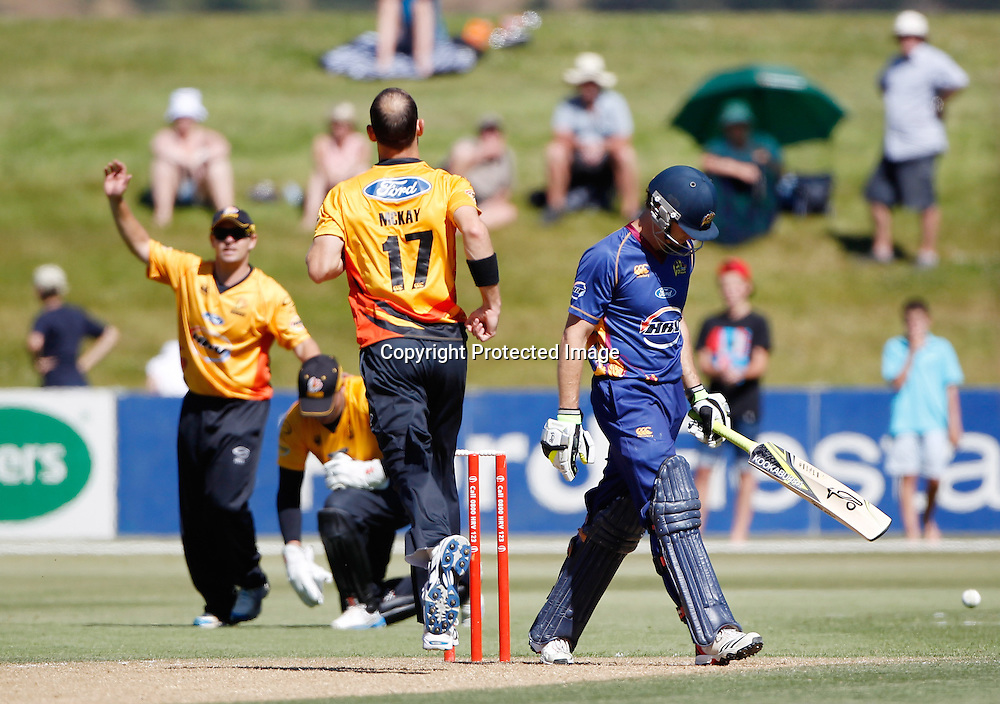 Volts Aaron Redmond is caught by Brendon Taylor during the Twenty20 Cricket - HRV Cup, Otago Volts v Wellington Firebirds, Saturday 31 December 2011, Queenstown Events Centre, Queenstown, New Zealand. Photo: Michael Thomas
