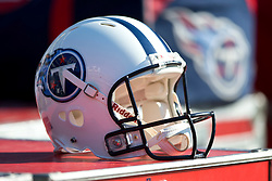 OAKLAND, CA - NOVEMBER 24: Detailed view of a Tennessee Titans helmet on the sidelines before the game against the Oakland Raiders at O.co Coliseum on November 24, 2013 in Oakland, California. The Tennessee Titans defeated the Oakland Raiders 23-19. (Photo by Jason O. Watson/Getty Images) *** Local Caption ***