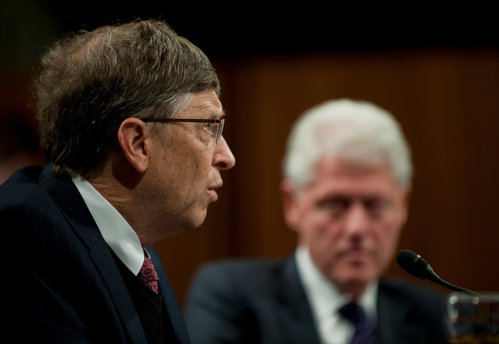 Mar 10,2010 - Washington, District of Columbia USA - .Bill Gates and Former President Bill Clinton participate in a briefing before the Senate Foreign Relations Committee Hearing on New Directions in Global Health  on Wednesday...(Credit Image: © Pete Marovich/ZUMA Press)
