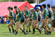 Girl scouts and boy scouts at World Scout Jamboree, 21st annual event  in Essex, England