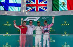 April 29, 2018 - Baku, Azerbaijan - The winners 1st Lewis Hamilton, 2nd Kimi Räikkönen and 3rd Sergio Perez on the podium during the award ceremony at Azerbaijan Formula 1 Grand Prix on Apr 29, 2018 in Baku, Azerbaijan. (Credit Image: © Robert Szaniszlo/NurPhoto via ZUMA Press)