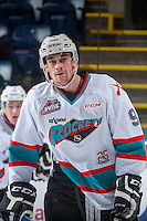KELOWNA, CANADA - FEBRUARY 27: Tanner Wishnowski #9 of Kelowna Rockets warms up against the Spokane Chiefs on February 27, 2016 at Prospera Place in Kelowna, British Columbia, Canada.  (Photo by Marissa Baecker/Shoot the Breeze)  *** Local Caption *** Tanner Wishnowski;