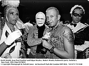 Keith Delalli, Jean Paul Gaultier and Edgar Heydra.  Robert Wooley Halloween party. Sotheby's. New York. 1993. Film 93378f19<br />