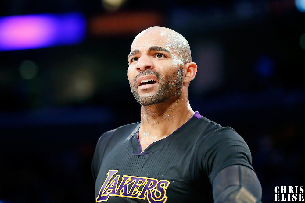 31 October 2014: Los Angeles Lakers forward Carlos Boozer (5) reacts during the Los Angeles Clippers 118-111 victory over the Los Angeles Lakers, at the Staples Center, Los Angeles, California, USA.
