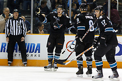 April 4, 2011; San Jose, CA, USA;  San Jose Sharks defenseman Marc-Edouard Vlasic (44) celebrates with teammates after scoring a goal against the Los Angeles Kings during the first period at HP Pavilion. Mandatory Credit: Jason O. Watson / US PRESSWIRE