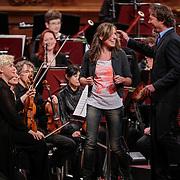 NLD/Haarlem/20121002- Opname AVRO's programma Maestro, presentator Frits Sissing en Brecht van Hulten