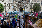 """Seen through the window of a nearby cafe, environmental and climate change protesters block Fleet Street on the first day of a week-long country-wide protests using using five boats to stop traffic in Cardiff, Glasgow, Bristol, Leeds, and London, on 15th July 2019, in London, England. The group is calling on the government to declare a climate emergency, saying it was beginning a five-day """"summer uprising"""" and that 'Ecocide' ought to be a criminal offence in law."""