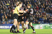 21 Nathan Fowles disagrees with referee Tom Foley during the European Rugby Challenge Cup match between Edinburgh Rugby and Stade Francais at Murrayfield Stadium, Edinburgh, Scotland on 12 January 2018. Photo by Kevin Murray.
