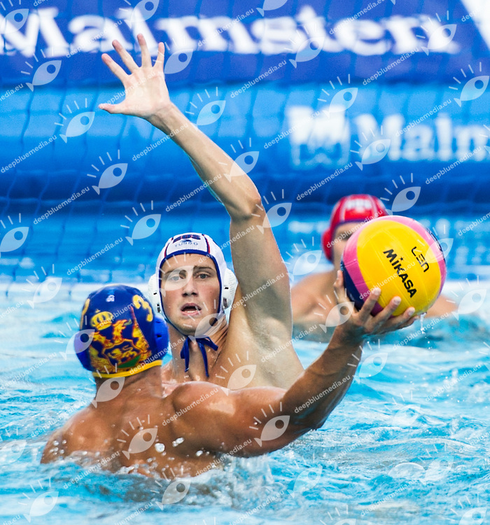 12 SHEPELEV Roman RUS<br /> 3 PASKOVIC Vjekoslav MNE<br /> RUS(white) vs MNO(blue)<br /> LEN European Water Polo Championships 2014<br /> Alfred Hajos -Tamas Szechy Swimming Complex<br /> Margitsziget - Margaret Island<br /> Day02 - July 15 <br /> Photo G. Scala/Inside/Deepbluemedia