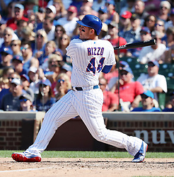August 19, 2017 - Chicago, IL, USA - The Chicago Cubs' Anthony Rizzo follows through on an RBI single in the seventh inning against the Toronto Blue Jays at Wrigley Field in Chicago on Saturday, Aug. 19, 2017. The Cubs won, 4-3. (Credit Image: © Nuccio Dinuzzo/TNS via ZUMA Wire)