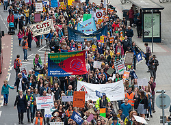 &copy; Licensed to London News Pictures.  20/05/2017; Bristol, UK. Bristol March through the city centre to Defend Education, called by National Union of Teachers. The SW Region of the NUT have called a demonstration in Bristol on May 20th in response what they say is the huge assault on school funding which if enacted will have a devastating impact on the vast majority of children. The NUT say this will lead to larger class sizes, less support for children with special needs and reduced subject choices. Similar demonstrations are planned in London and many other cities and towns. The march is taking place during the General Election 2017 campaign period.<br /> Picture credit : Simon Chapman/LNP