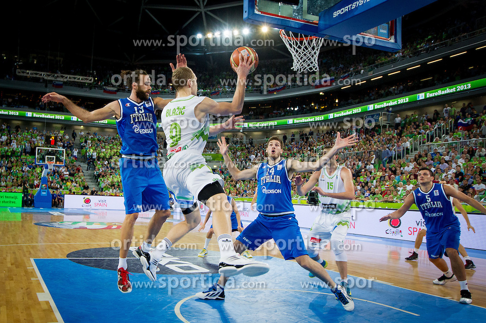 Luigi Datome #13 of Italy vs Jaka Blazic of Slovenia during basketball match between National teams of Slovenia and Italy in Round 2 at Day 9 of Eurobasket 2013 on September 12, 2013 in Arena Stozice, Ljubljana, Slovenia. (Photo by Vid Ponikvar / Sportida.com)