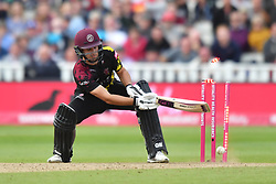 Somerset's Lewis Gregory is bowled out by Sussex Sharks' Chris Jordan during the Vitality T20 Blast Semi Final match on Finals Day at Edgbaston, Birmingham.