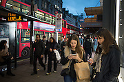 Oxford St. bus stop,  London. 28 January 2016