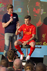 LIVERPOOL, ENGLAND - Monday, May 9, 2016: Liverpool's Philippe Coutinho Correia at the launch of the New Balance 2016/17 Liverpool FC kit at a live event in front of supporters at the Royal Liver Building on Liverpool's historic World Heritage waterfront. (Pic by David Rawcliffe/Propaganda)