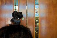 Harlem, New York, USA - April 14. A woman peeks through the door window inside the church during a funeral service on April 14, 2008 in Harlem, New York, USA.
