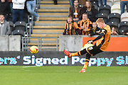 Hull City midfielder Sam Clucas takes free kick towards goal during the Sky Bet Championship match between Hull City and Middlesbrough at the KC Stadium, Kingston upon Hull, England on 7 November 2015. Photo by Ian Lyall.