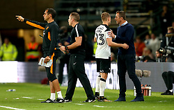 Matej Vydra of Derby County is congratulated by Derby County manager Gary Rowett after scoring two goals against Hull City - Mandatory by-line: Robbie Stephenson/JMP - 08/09/2017 - FOOTBALL - Pride Park Stadium - Derby, England - Derby County v Hull City - Sky Bet Championship