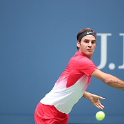 2017 U.S. Open Tennis Tournament - DAY FOUR.  Roger Federer of Switzerland in action against Mikhail Youzhny of Russia during the Men's Singles round two match at the US Open Tennis Tournament at the USTA Billie Jean King National Tennis Center on August 31, 2017 in Flushing, Queens, New York City.  (Photo by Tim Clayton/Corbis via Getty Images)