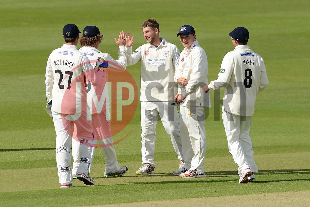 Chris Dent of Gloucestershire celebrates as he catches Matt Coles of Kent - Photo mandatory by-line: Dougie Allward/JMP - Mobile: 07966 386802 - 19/05/2015 - SPORT - Cricket - Bristol - County Ground - Gloucestershire v Kent - LV=County Cricket Division 2