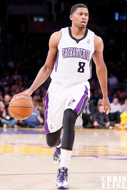 28 February 2014: Sacramento Kings small forward Rudy Gay (8) brings the ball up court during the Los Angeles Lakers 126-122 victory over the Sacramento Kings at the Staples Center, Los Angeles, California, USA.