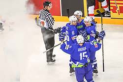 Ales Music of Slovenia, Aleksandar Magovac of Slovenia, Blaz Gregorc of Slovenia, Ken Ograjensek of Slovenia celebrate after first goal of Slovenia during Ice Hockey match between National Teams of Hungary and Slovenia in Round #3 of 2018 IIHF Ice Hockey World Championship Division I Group A, on April 25, 2018 in Arena Laszla Pappa, Budapest, Hungary. Photo by David Balogh / Sportida