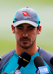 Australia's Mitchell Starc talks to the media during a nets session at the Melbourne Cricket Ground, Melbourne.