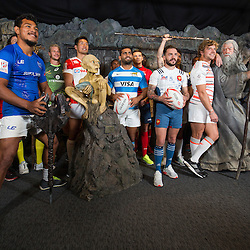 Team captains pose with Lord of the Rings characters Gollum and Gandalf during the Wellington Sevens captains' photo opportunity at Weta Workshop in Wellington, New Zealand on Thursday, 26 January 2017. Photo: Hagen Hopkins / lintottphoto.co.nz