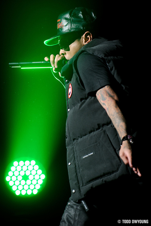 Photos of rapper Tyga performing at the Fox Theater in St. Louis in support of Drake on October 12, 2010.
